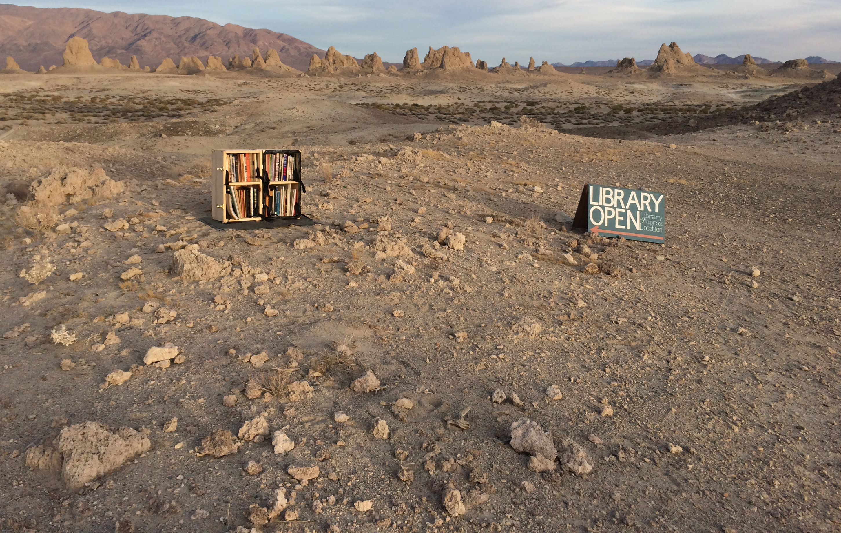 Library of Approximate Location installed at Trona Pinnacles